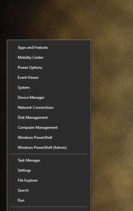 Secret Start Menu in Windows 10